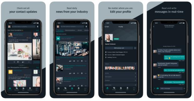 4 écrans pour iPhone illustrant diverses utilisations de Xing, notamment: mises à jour à partir de contacts, mises à jour d'actualités du secteur, édition de profils, messagerie.