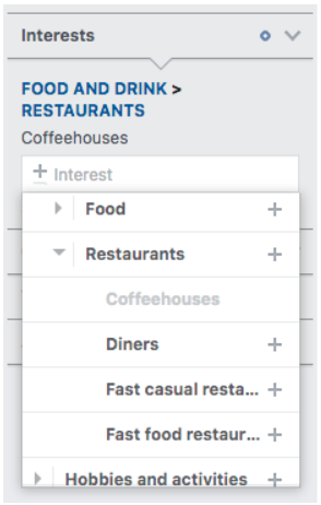 Interests > restaurants demographic narrowing down even further to Coffeehouses