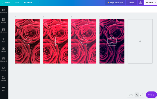 4 Instagram Story highlight covers in the Canva dashboard with varying shades of rose backgrounds