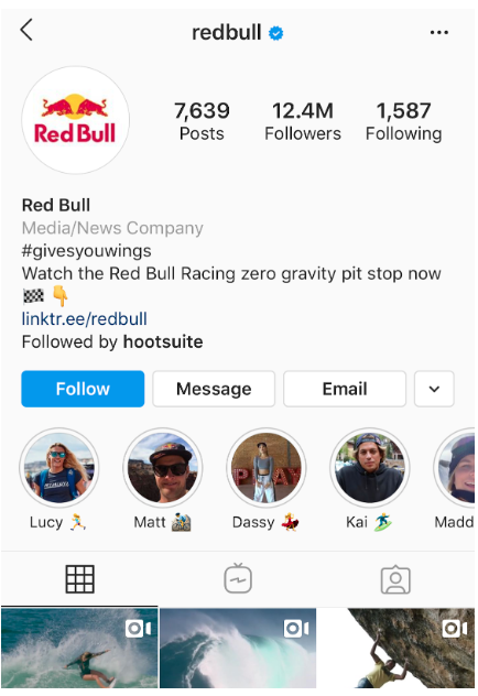 Redbull's Instagram profile with highlight covers