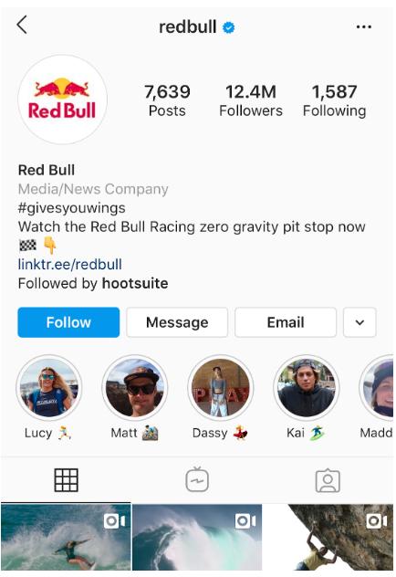 Redbull's Instagram highlight covers