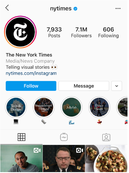 Photo de profil Instagram du New York Times