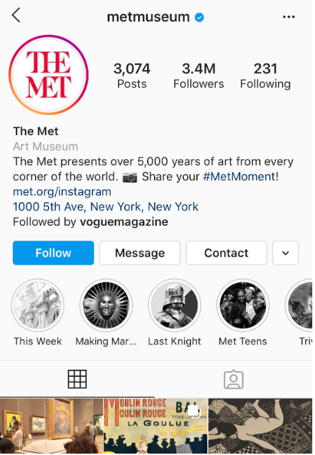 The Met's Instagram profile with Instagram highlight covers