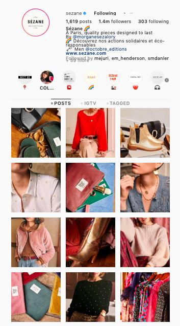 Sezane Instagram grid