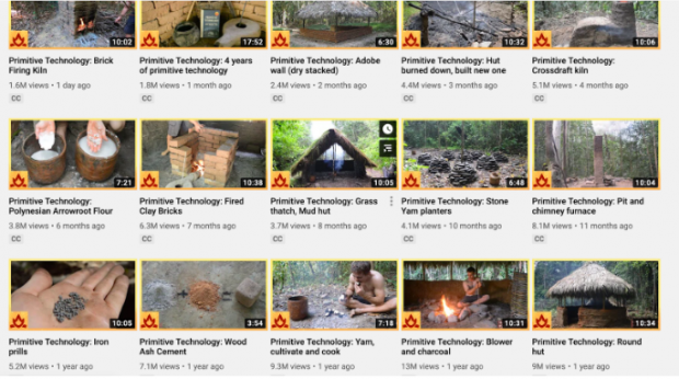 15 video thumbnails on Primitive Technology YouTube page