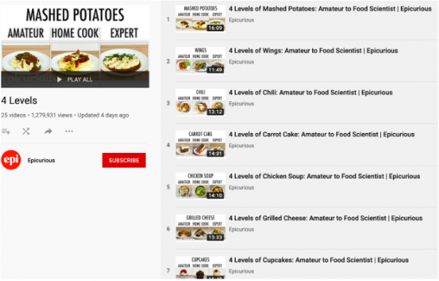 Epicurious YouTube playlist