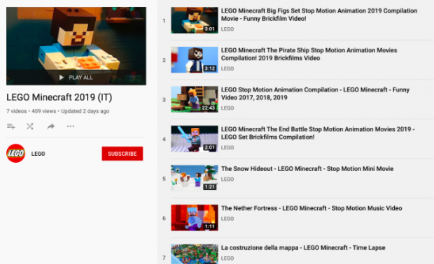 LEGO YouTube playlist