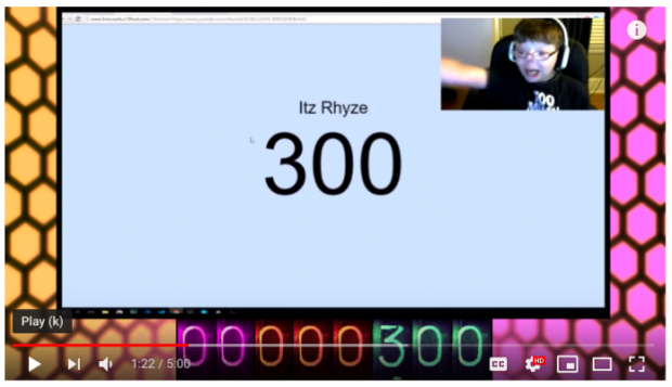 screenshot of YouTube video by Pandrew Panz reaching 300 subscribers