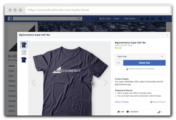 Big Commerce Facebook page app