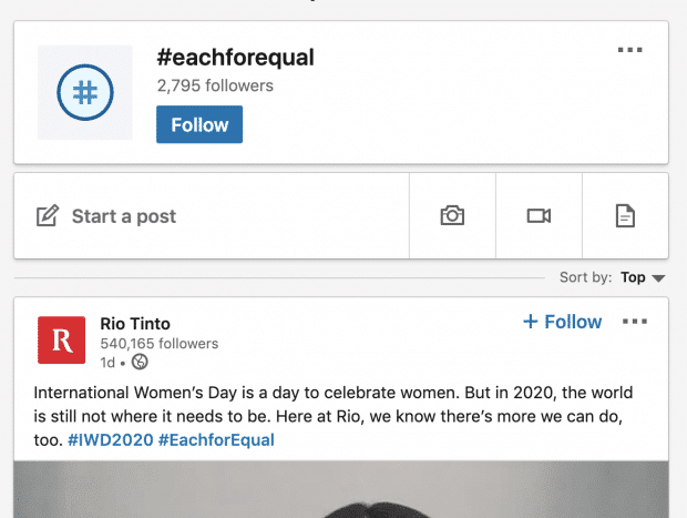 Rio Tinto post on LinkedIn using #eachforequal