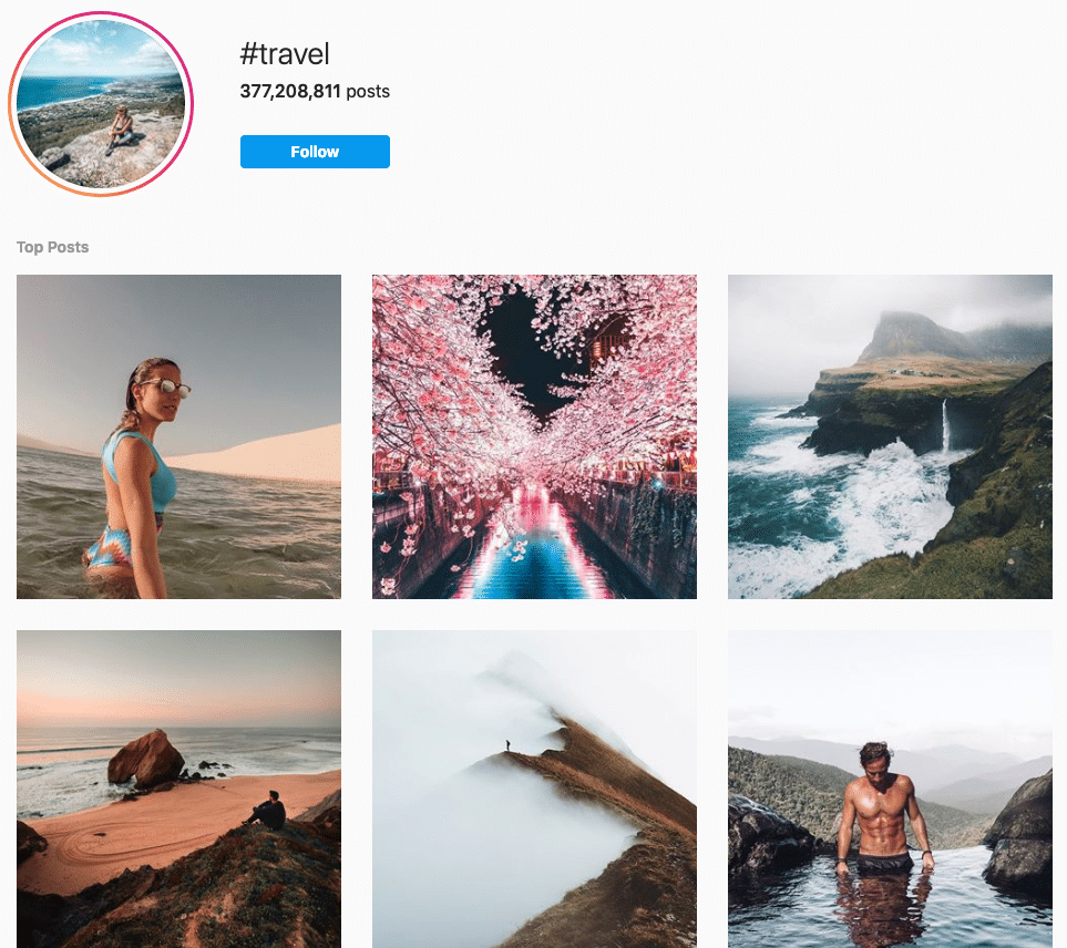 Travel hashtag page on Instagram with 377,000,000 posts