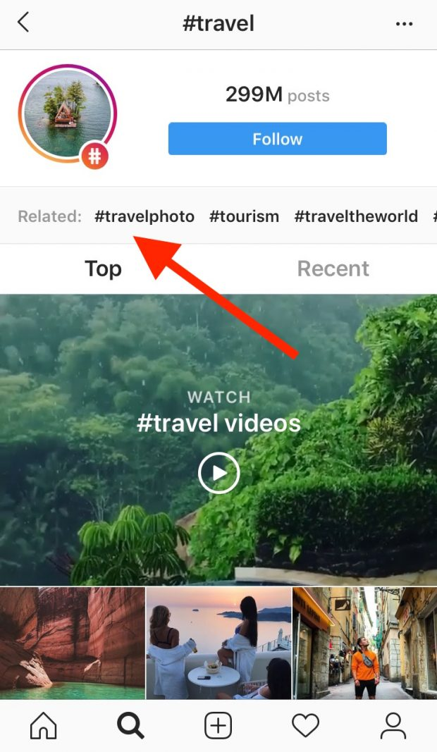 "hashtag page for ""travel"" on Instagram, highlighting related hashtags"