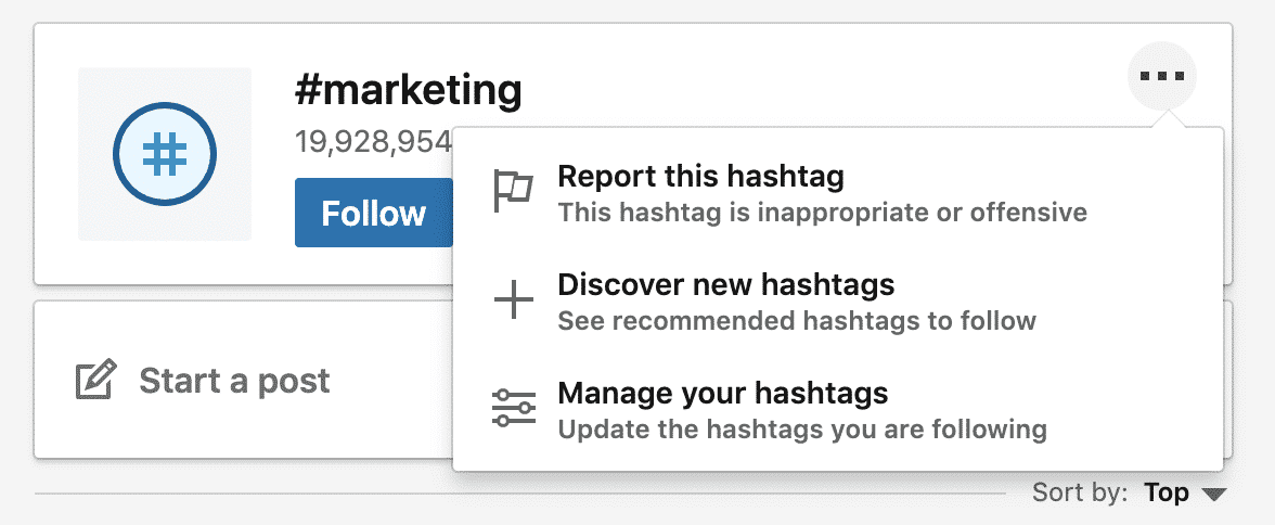 "Highlighting ""Discover new hashtags"" for #marketing"