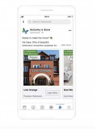 McCarthy & Stone facebook lead ad