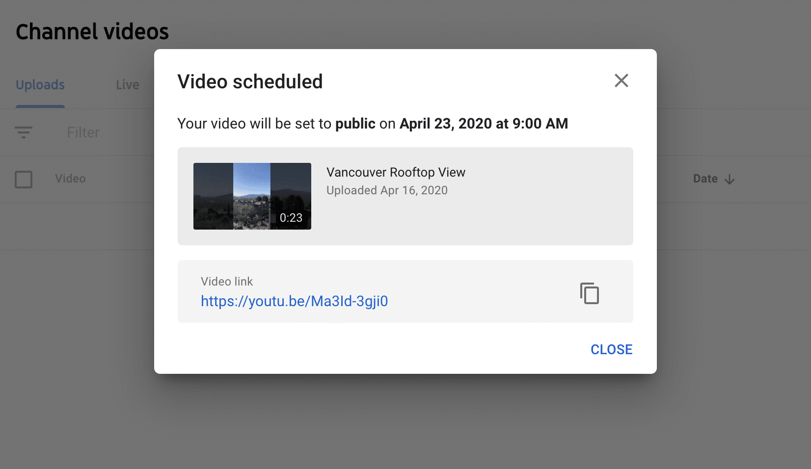 YouTube video scheduled notification