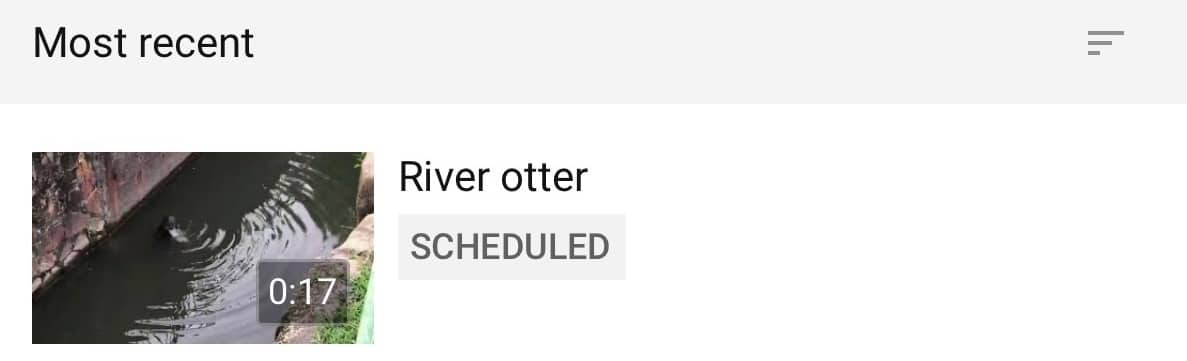 "YouTube video with ""Scheduled"" label"