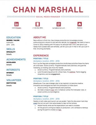 modèle de CV de gestionnaire de médias sociaux avec police rouge