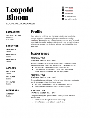 social media manager resume template with black font