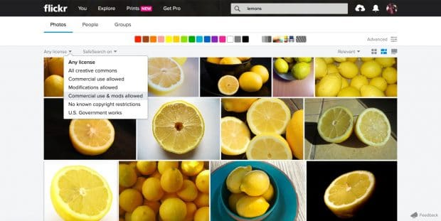 "Flickr image search with ""commercial use & mods allowed"" filter"