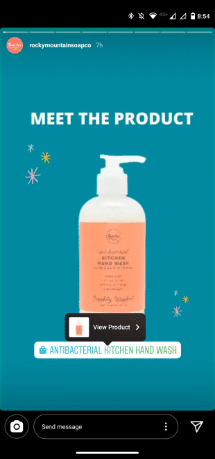 Shoppable Rocky Mountain Soap Co. Instagram Story ad featuring hand soap