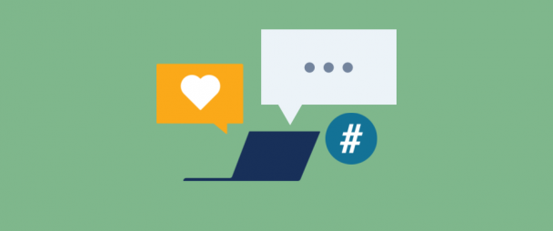 Illustration surround by Instagram icons for likes, comment, and hashtags