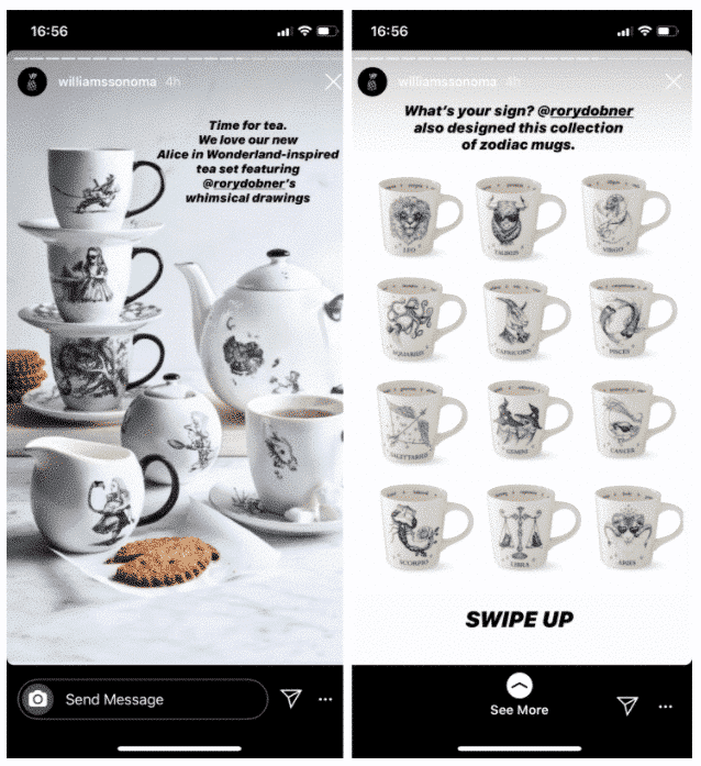 2 Instagram Stories de Williams Sonoma avec des tasses empilées