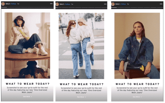 3 scènes d'une publicité Instagram Stories par Top Shop Canada
