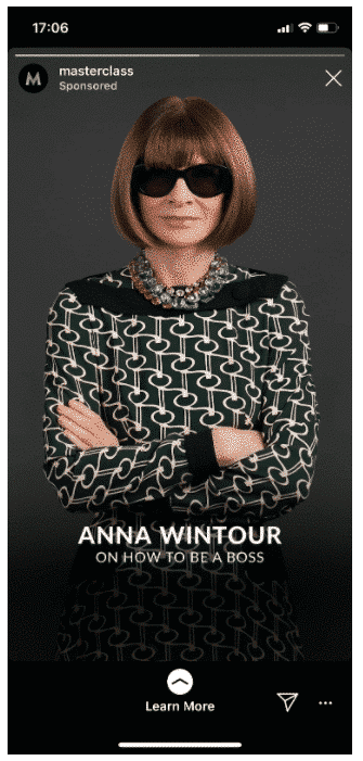 "Instagram Story de Masterclass avec Anna Wintour qui advertise ""How to Be a Boss"""