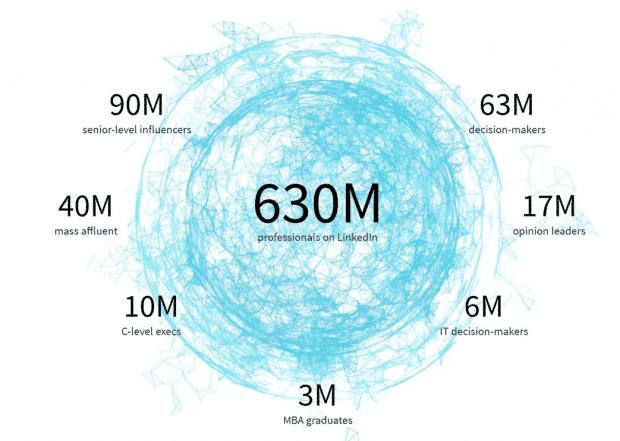 Audience LinkedIn ventilée par titre de haut niveau