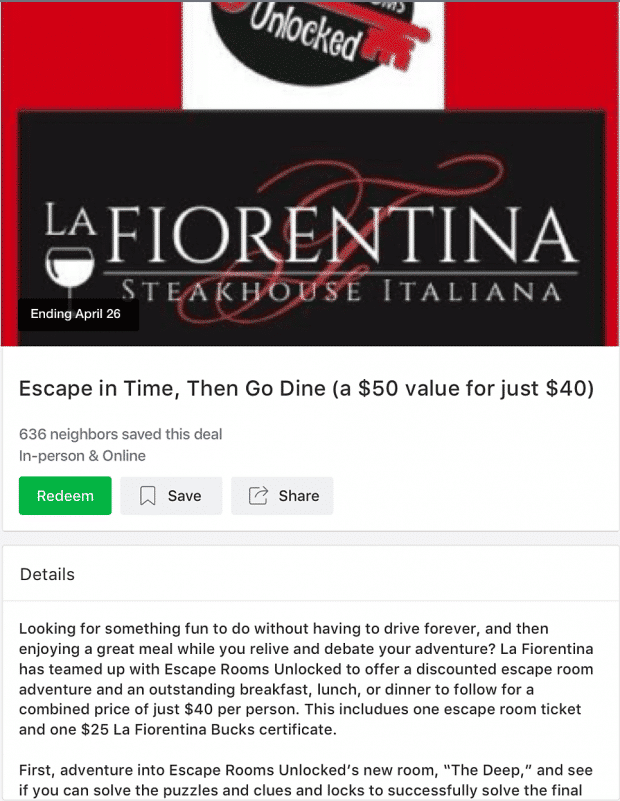 Local Deal ad by La Fiorentina restaurant