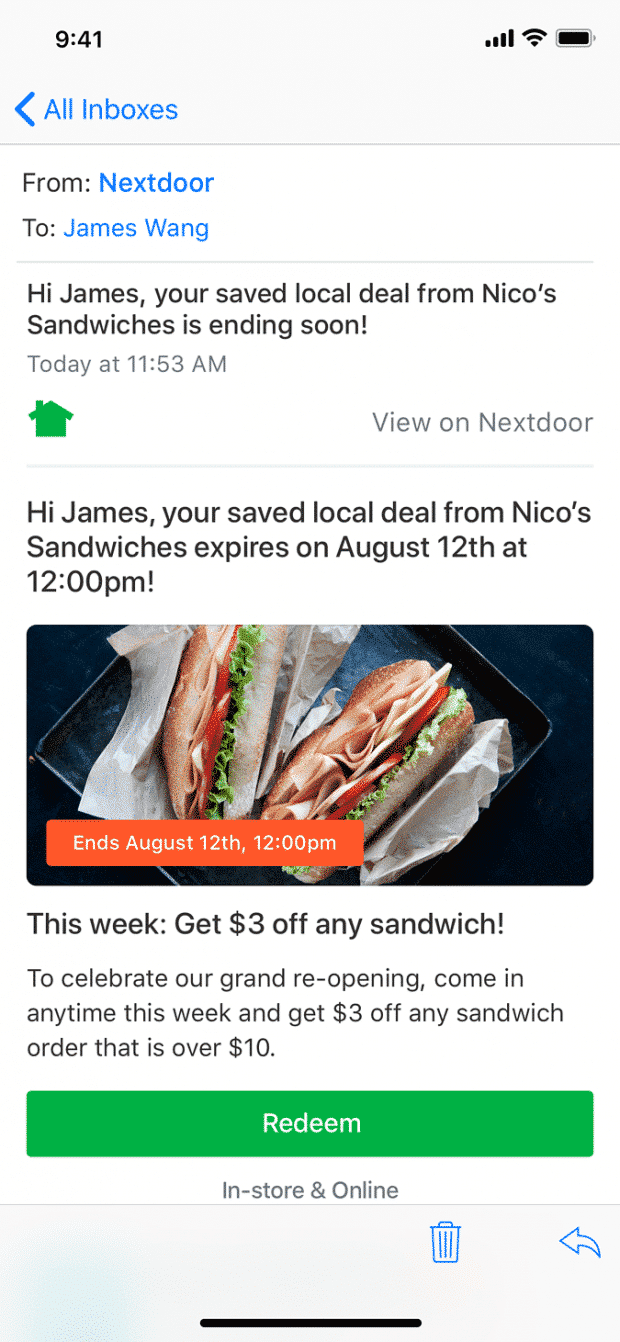 Local Deal ad from Nico's Sandwich saved to someone's inbox