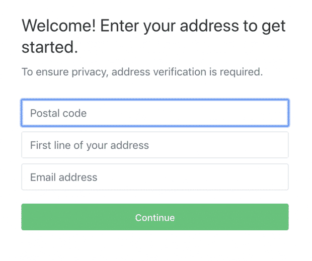 Entering postal code on Nextdoor account creation page