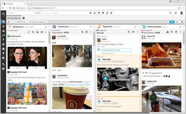 Paigeview app within the Hootsuite dashboard