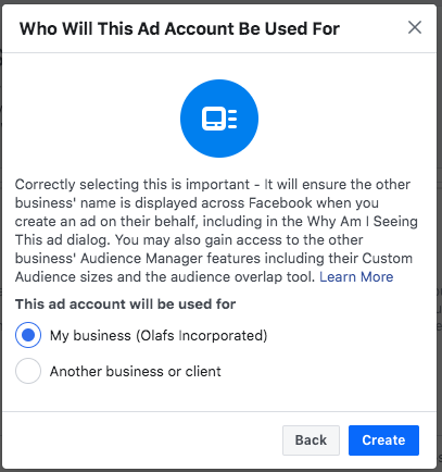 Option to choose who the ad account will be used for