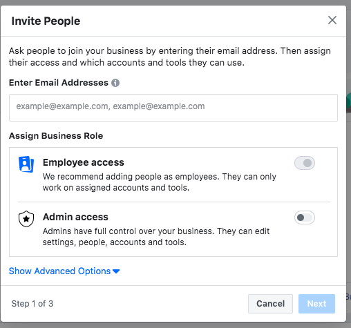 Choose admin access permissions for Facebook Business Manager