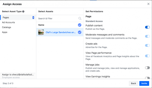 Customizing user permissions in Facebook Business Manager