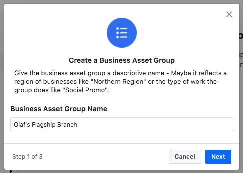 Field to name your Business Asset Group