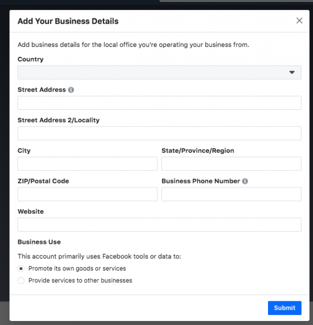 Form fields to add in business details on Facebook