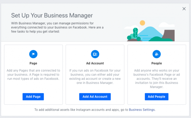 Option to add a page when setting up Facebook Business Manager