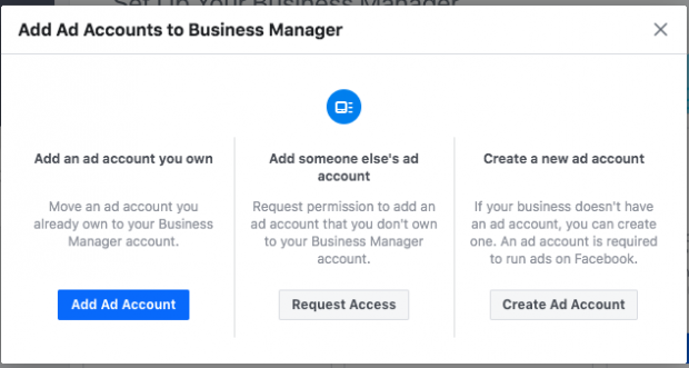 Add Ad Account button on Facebook Business Manager setup