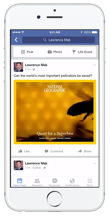 Screenshot of a Facebook Instant Article video