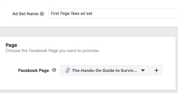 Option de choisir quelle page Facebook vous voulez promouvoir