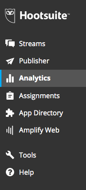 Hootsuite analytics menu