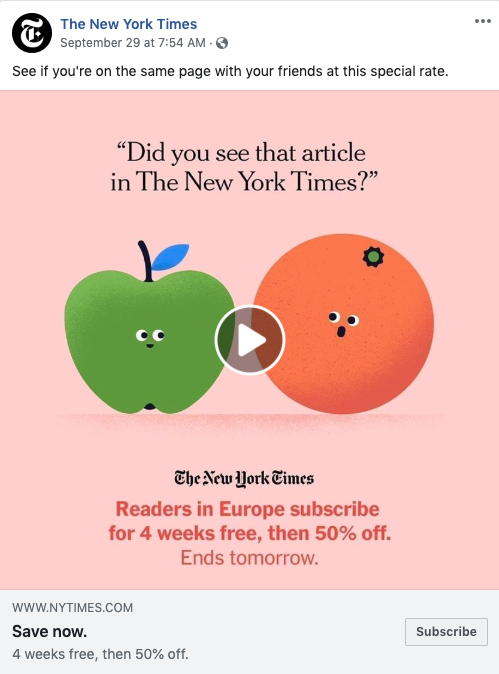 New York Times GIF ad on Facebook