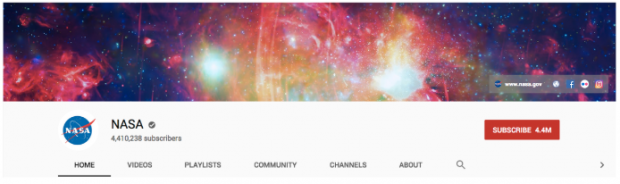 NASA YouTube channel banner