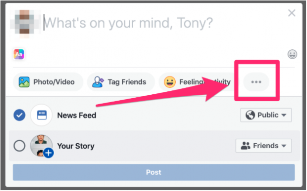 Three dots located below create a post dialog on Facebook newsfeed