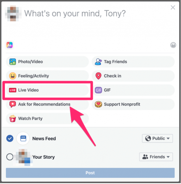 """Live Video"" option under ""Create post"" dialog on Facebook newsfeed"