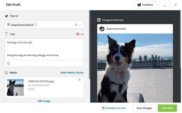 Screenshot of Instagram post composer in Hootsuite