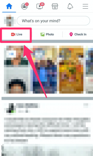 """Live"" button at top right of Facebook newsfeed"