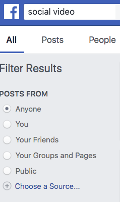 How to filter Facebook search results